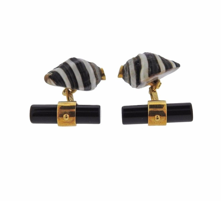 Italian Gold Shell Onyx Ruby Cufflinks 5