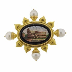 Large Elizabeth Locke Gold Pearl Micro Mosaic Brooch Pin