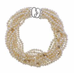 Verdura Pearl Moonstone Torsade Necklace