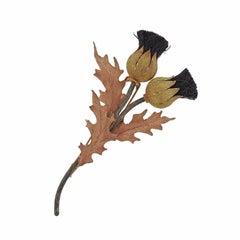 Buccellati Tri-Color Gold Silver Thistle Brooch Pin