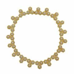 Buccellati Gold Diamond Flower Motif Necklace