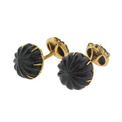 French Tiffany & Co. Gold Carved Bloodstone Cufflinks