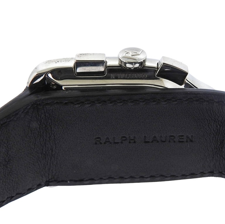 Ralph Lauren Stainless Steel Black Dial Chronograph Automatic Wristwatch In New Condition In Boca Raton, FL
