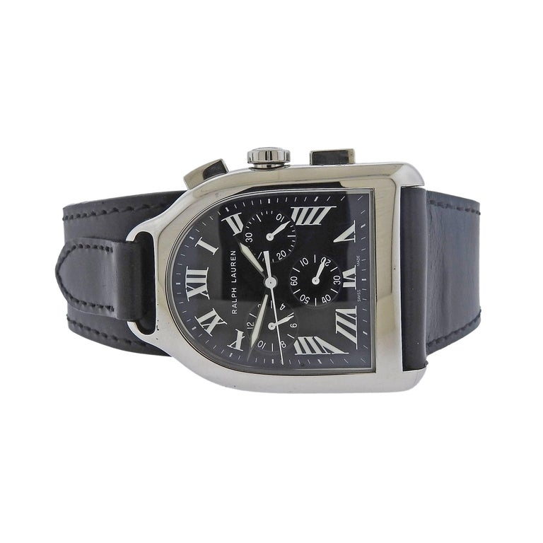 Ralph Lauren Stainless Steel Black Dial Chronograph Automatic Wristwatch