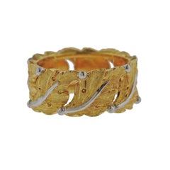 Buccellati Leaf Motif Gold Band Ring