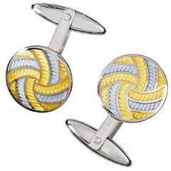 Jan Leslie Yellow Grey Enamel Silver Pinwheel Cufflinks
