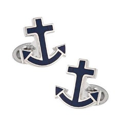Jan Leslie Nautical Anchor Lapis Sterling Silver Cufflinks