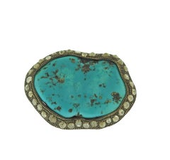 Large Loree Rodkin Turquoise Rose Cut Diamond Gold Ring