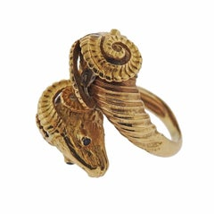 Zolotas Greece Sapphire Gold Ram's Head Bypass Ring