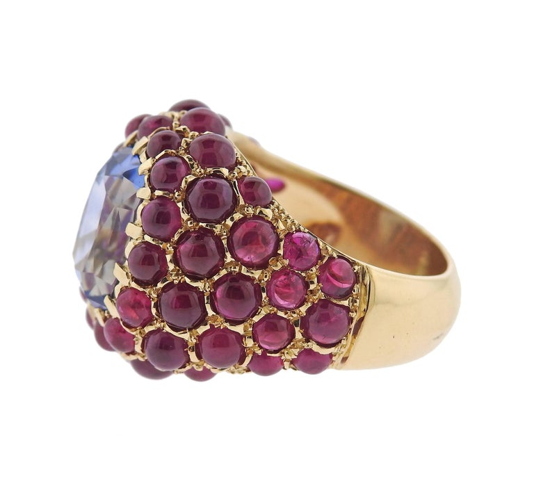 Verdura Sapphire Ruby Gold Ring In Excellent Condition For Sale In Lahaska, PA