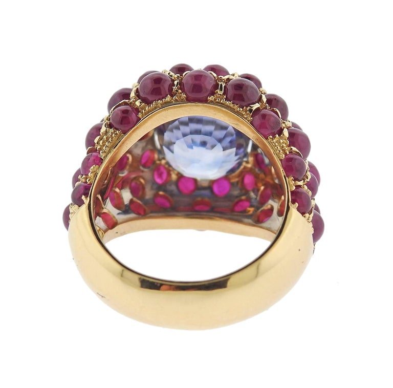 Women's Verdura Sapphire Ruby Gold Ring For Sale