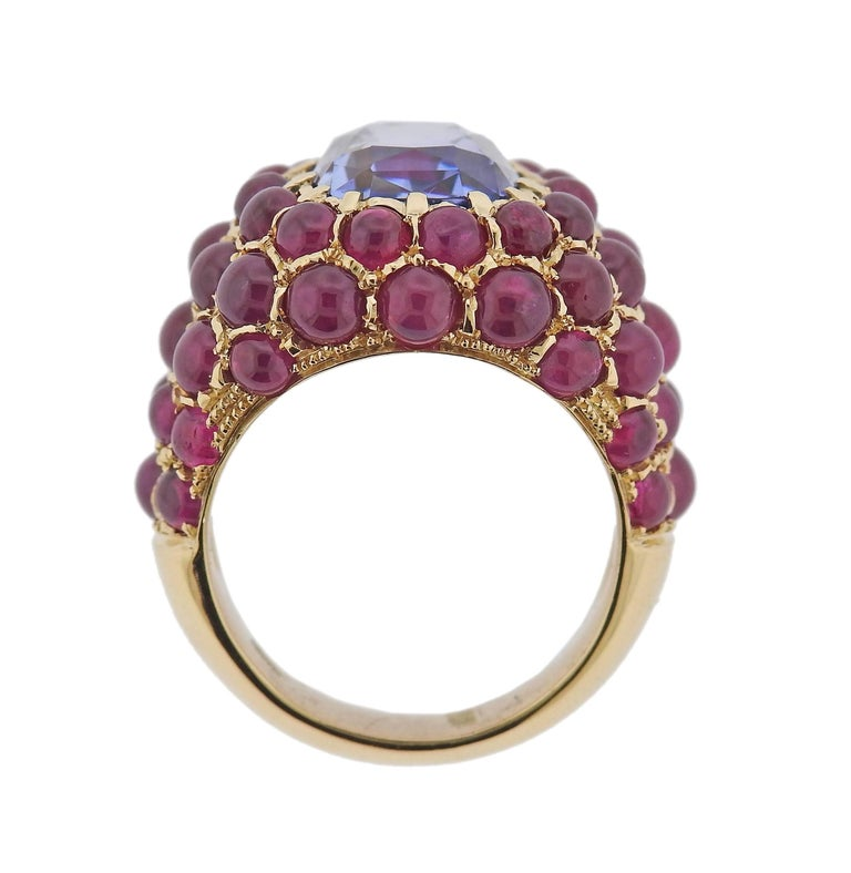 Verdura Sapphire Ruby Gold Ring For Sale 1