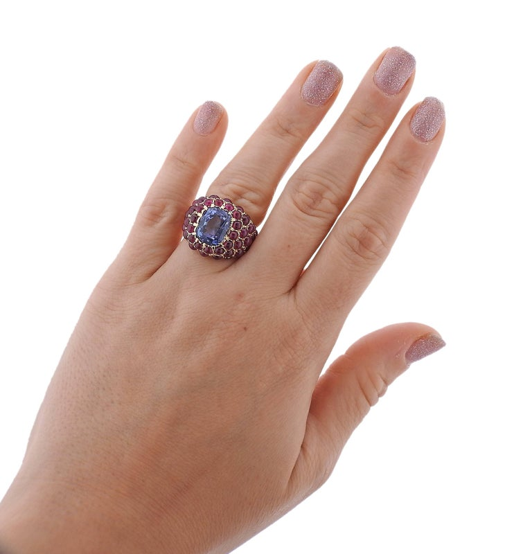 Verdura Sapphire Ruby Gold Ring For Sale 3