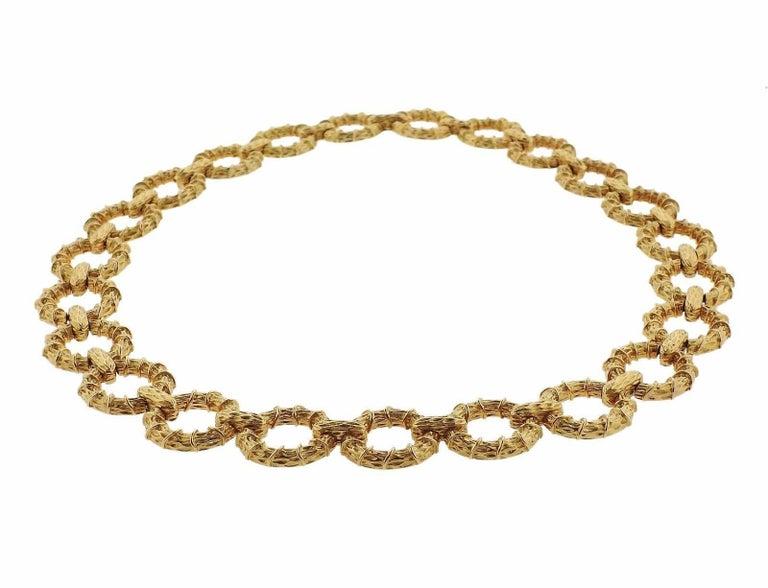 1970s Oval Link Gold Necklace Bracelet Suite For Sale 3