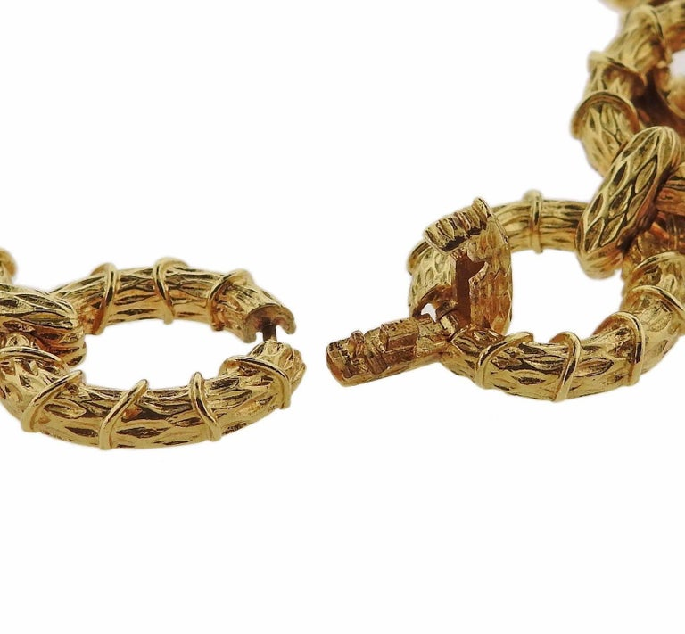 1970s Oval Link Gold Necklace Bracelet Suite For Sale 2