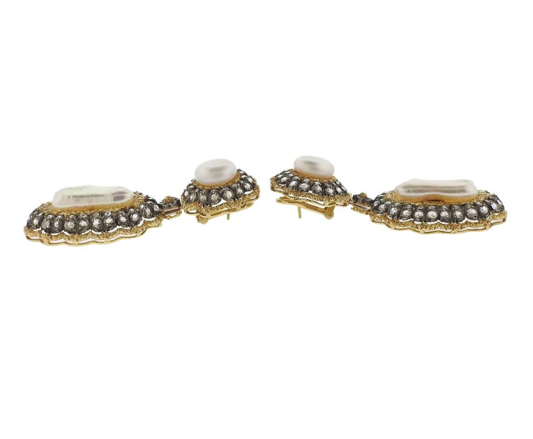 Buccellati Rose Cut Diamond Pearl Gold Night and Day Earrings For Sale 4