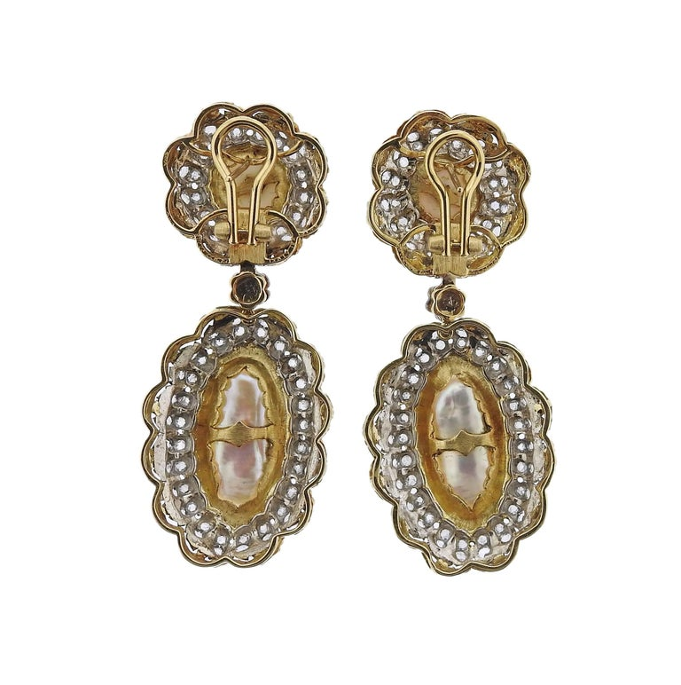 Women's Buccellati Rose Cut Diamond Pearl Gold Night and Day Earrings For Sale