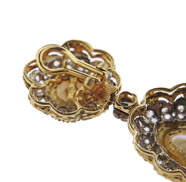 Buccellati Rose Cut Diamond Pearl Gold Night and Day Earrings For Sale 1