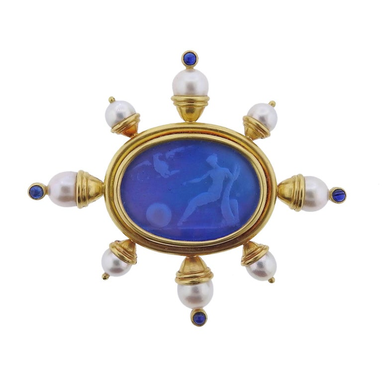 Elizabeth Locke Pearl Sapphire Venetian Glass Gold Brooch For Sale