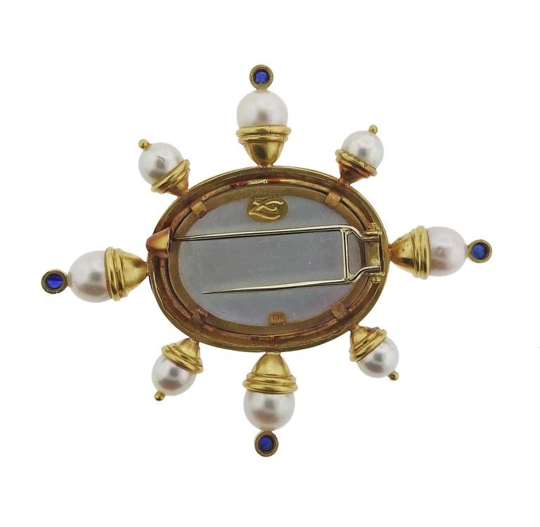 Elizabeth Locke Pearl Sapphire Venetian Glass Gold Brooch In Excellent Condition For Sale In Lahaska, PA