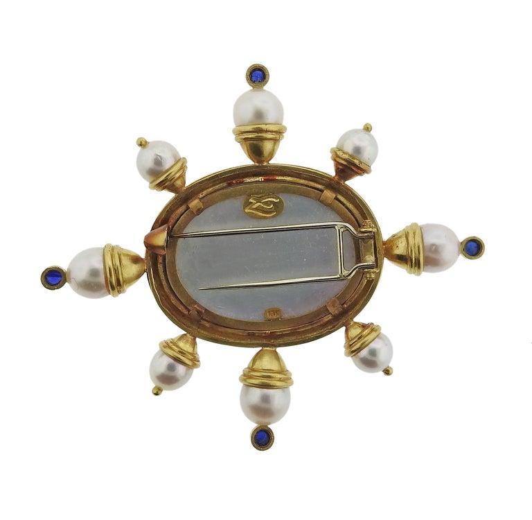 Elizabeth Locke Pearl Sapphire Venetian Glass Gold Brooch 3