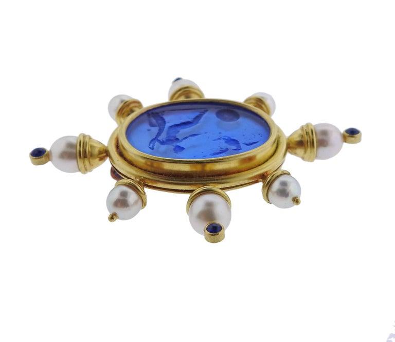 Elizabeth Locke Pearl Sapphire Venetian Glass Gold Brooch 2