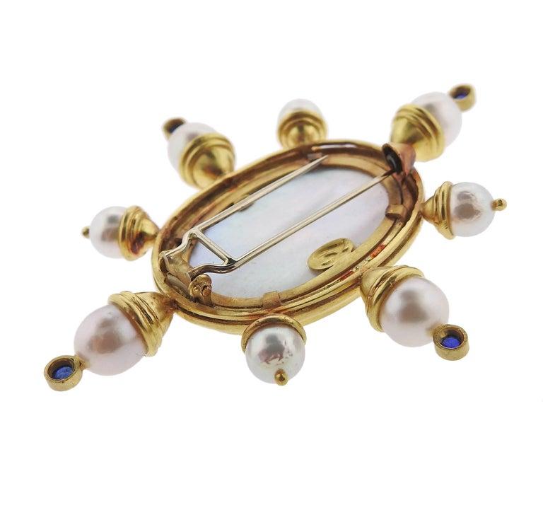 Women's Elizabeth Locke Pearl Sapphire Venetian Glass Gold Brooch For Sale