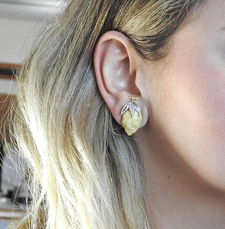 Buccellati Tri Color Gold Lemon Earrings For Sale 1