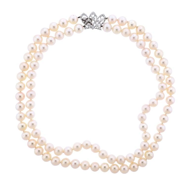 Buccellati Pearl Diamond Gold Double Strand Necklace