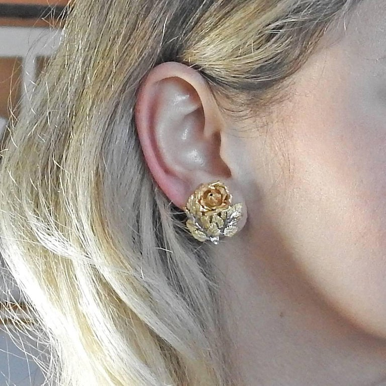 Buccellati Buccellati Tri Color Gold Rose Flower Earrings For Sale 1