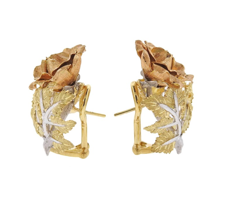 A pair of 18k tri color earrings, crafted by Buccellati, featuring rose flower bush.  Earrings are 25mm x 21mm.  Marked: D5154, Buccellati, Italy, 18k. Weight  - 14.6 grams. With pouch. Retail $13900.