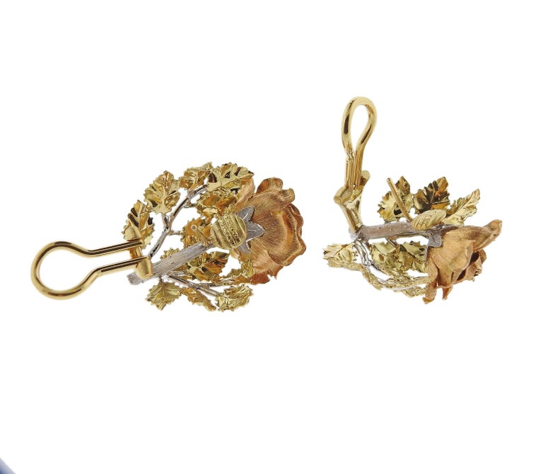 Women's Buccellati Buccellati Tri Color Gold Rose Flower Earrings For Sale