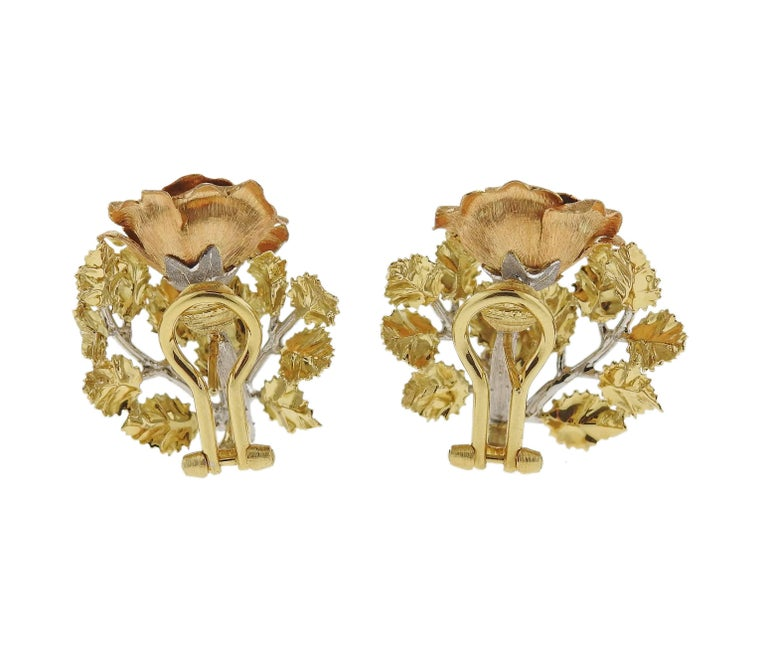 Buccellati Buccellati Tri Color Gold Rose Flower Earrings In New Condition For Sale In Lahaska, PA