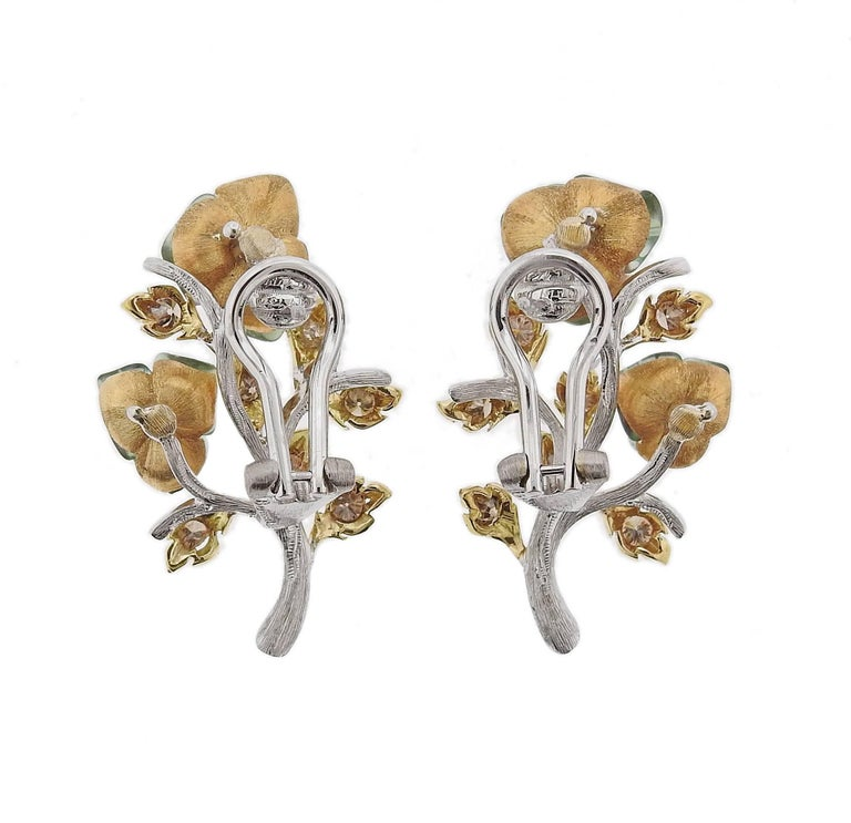 Buccellati Diamond Tourmaline Gold Flower Earrings In New Condition For Sale In Boca Raton, FL