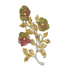 Buccellati Tourmaline Diamond Gold Flower Brooch