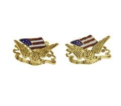 Haume Gold Enamel Freedom Eagle American Flag Cufflinks