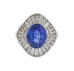 Sapphire Diamond Platinum Cocktail Ring
