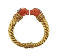 Greek Carved Coral Diamond Gold Lion Bangle Bracelet