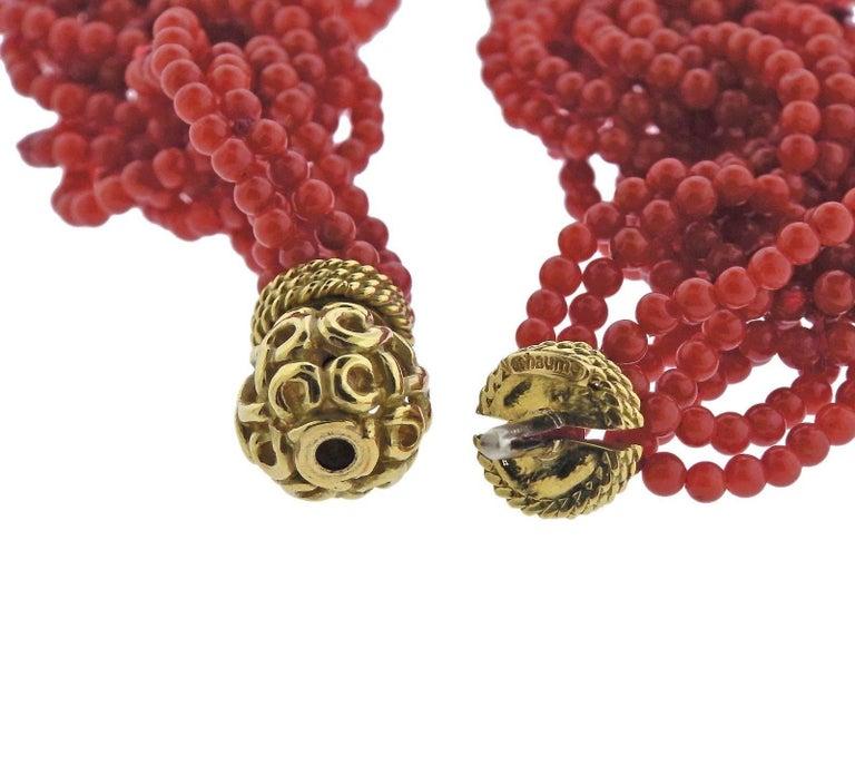 Women's Adria de Haume Coral Gold Link Necklace For Sale