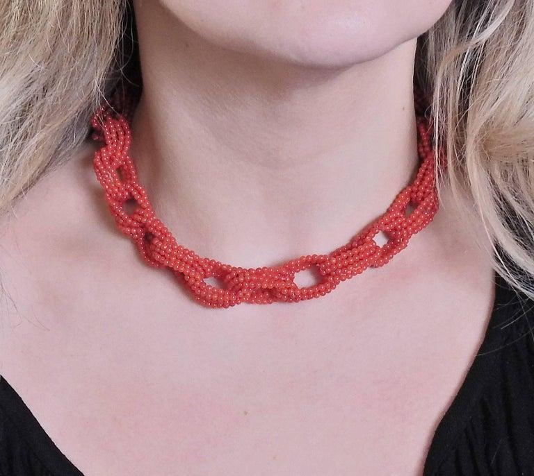 Adria de Haume Coral Gold Link Necklace For Sale 1