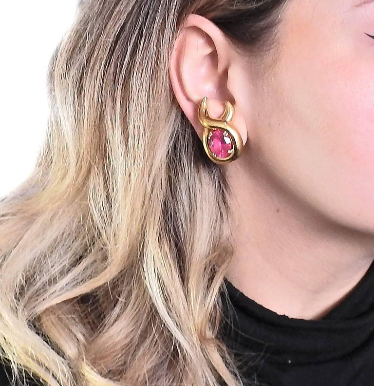 Verdura Pink Tourmaline Gold Earrings For Sale 1
