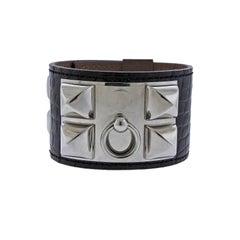 Hermes Collier de Chien Black Alligator Leather Bracelet