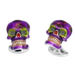 Deakin & Francis Mexican Skull Enamel Silver Cufflinks
