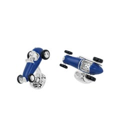 Deakin & Francis Silver Blue Enamel Racing Car Cufflinks