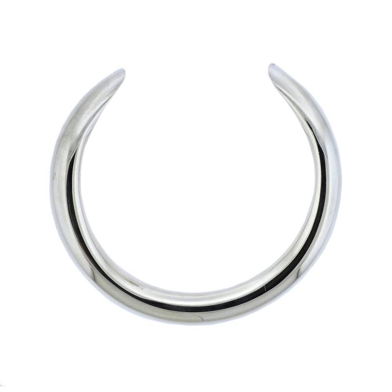 Hermes Sterling Silver Collar Necklace