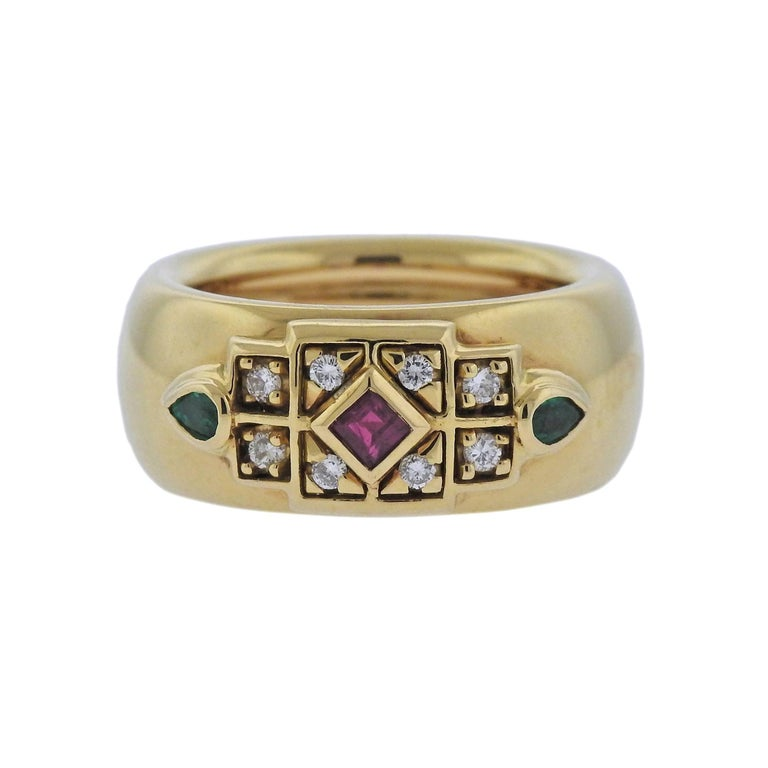 Cartier Emerald Ruby Diamond Gold Ring