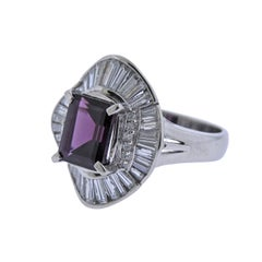 Diamond Pink Tourmaline Platinum Cocktail Ring