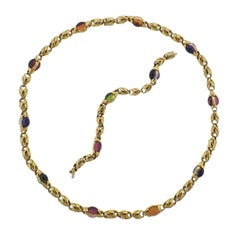 Bulgari Amethyst Tourmaline Citrine Peridot Gold Necklace Bracelet Suite