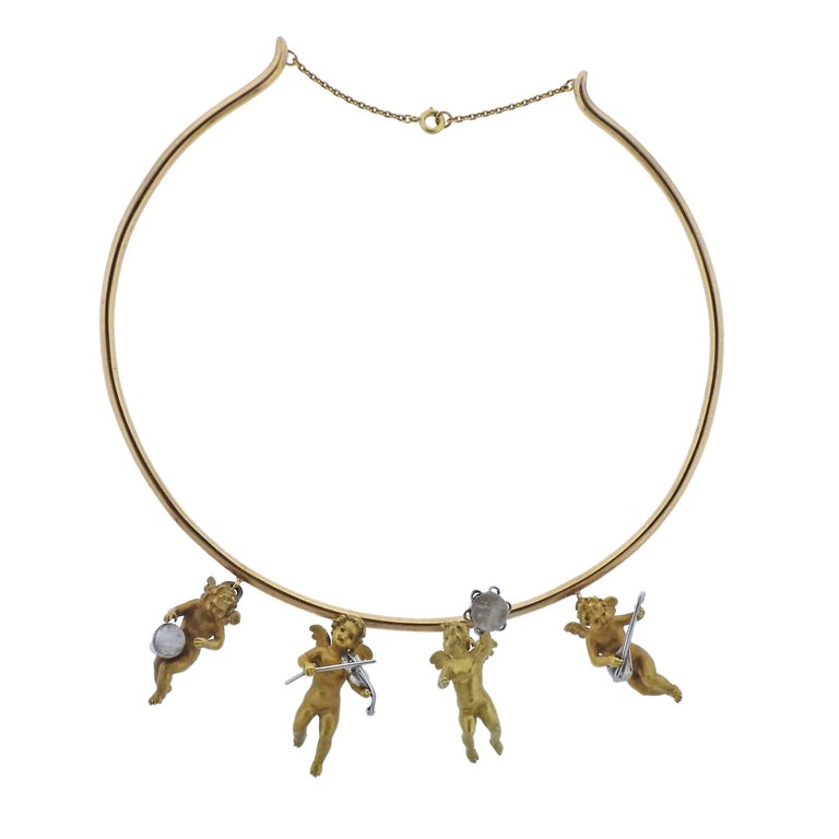 Cherub Charm Gold Necklace