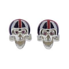 Deakin & Francis Silver Pink Spinel Skull Union Jack Helmet Cufflinks